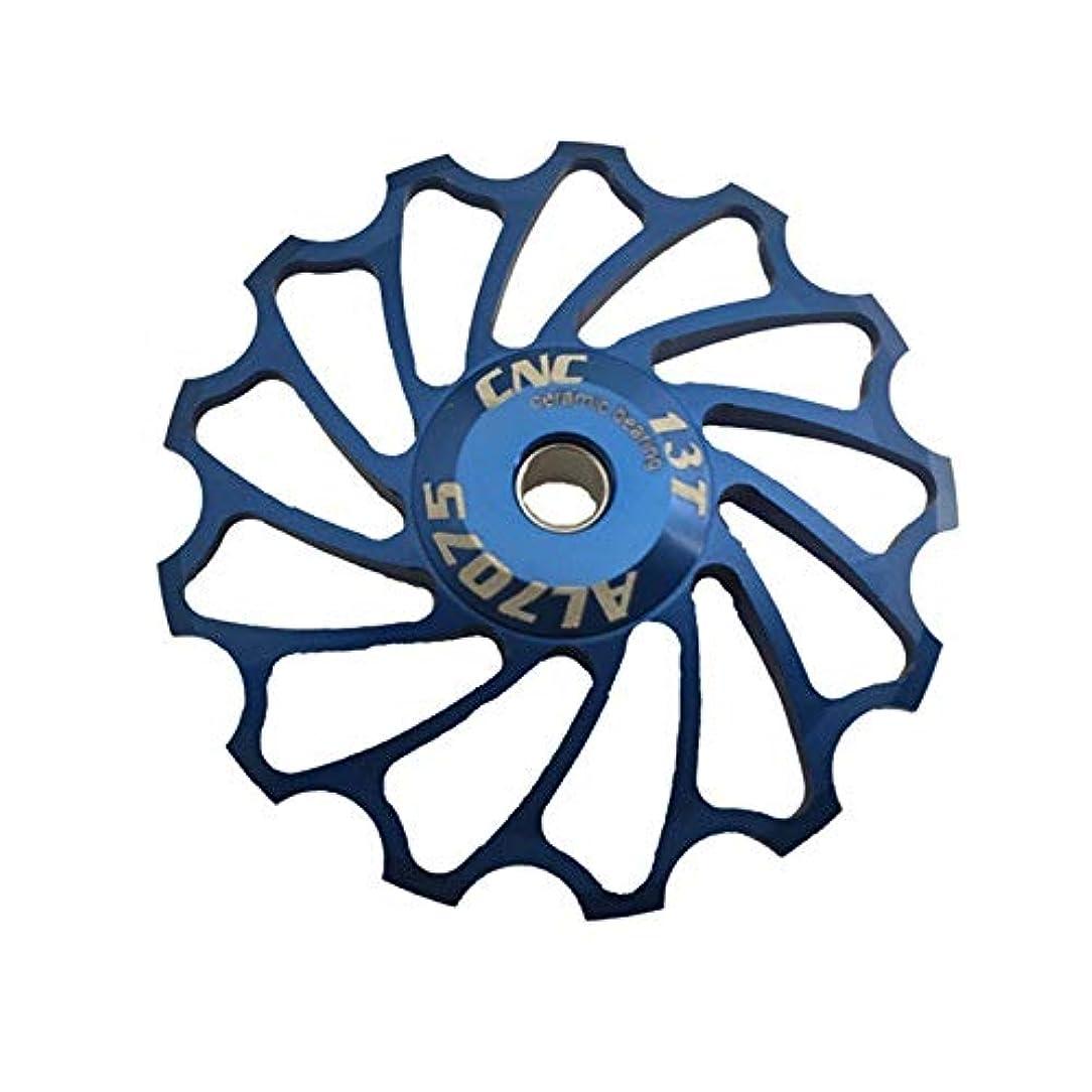 にぎやか登山家鳥Propenary - Cycling bike ceramics Jockey Wheel Rear Derailleur Pulley 13T 7075 Aluminum alloy bicycle guide pulley bearing bicycle parts [ Blue ]