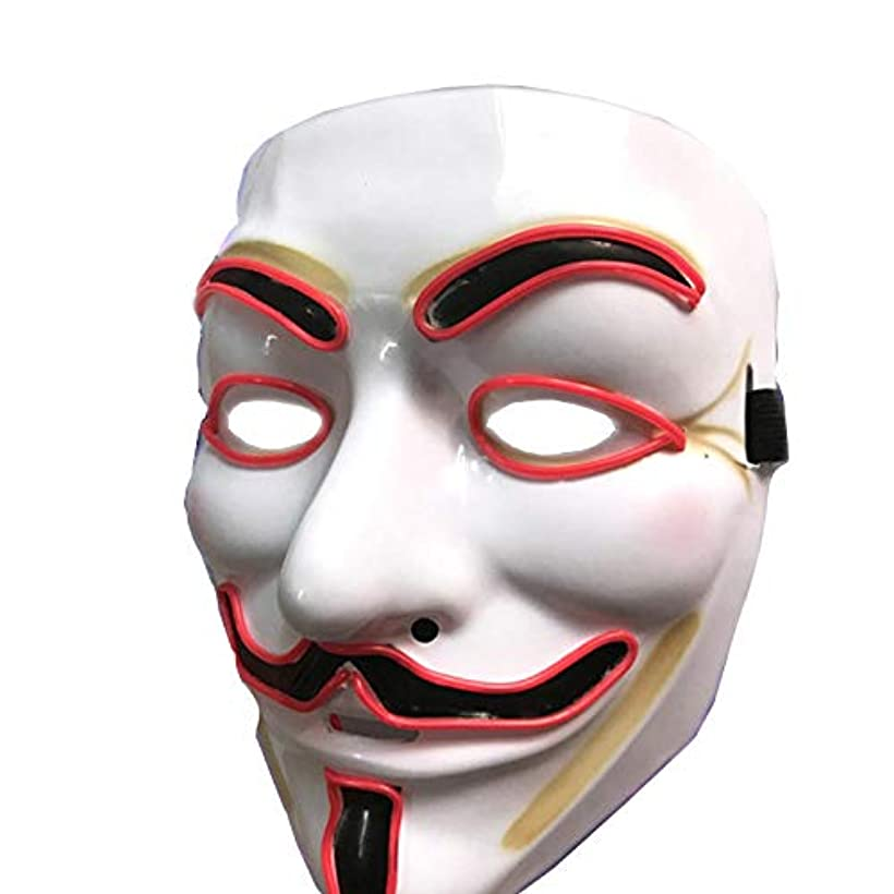 染色昆虫を見る居住者ハロウィーンマスクLEDライトアップマスクグローイングマスク、コスプレ、レッド
