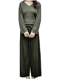 Nicellyer 女性の固体着色されたトップとドローストリングパンツセット