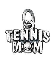 スターリングシルバー女性用1mmボックスチェーンTennis Mom Wordスポーツペンダントネックレス シルバー