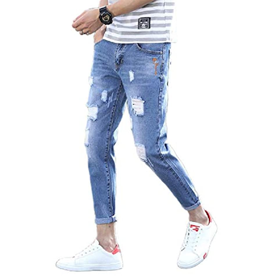 僕のほのか免除YAXINHE Men's Wash Mid Waist Jeans Slim Casual Denim Ripped Pull-on Pants