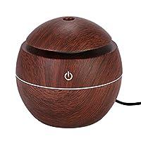アロマディフューザー 加湿器 空気清浄機 USB スマート センサータッチ 木目 乾燥対策 130ml 空焚き防止 LED 7色ライト ミスト調整 ホーム オフィス 卓上加湿器 Hillrong