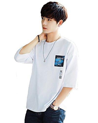 Tシャツ メンズ 五分袖 Tシャツ 綿 春夏季対応 トップス G005 (ホワイト, M)