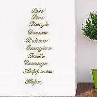 ミラーウォールステッカー 3Dアクリル現代ミラーウォールステッカー英語の手紙DIY壁画装飾家の装飾 ホームリビングルームの寝室の装飾 (Color : Gold)