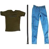 Lovoski 1/6  半袖 アーミーグリーン Tシャツ ジーンズ 12 インチ男性アクションフィギュア適用