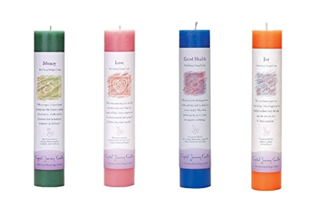 (Money, love, Good Health, Joy) - Crystal Journey Reiki Charged Herbal Magic Pillar Candle Bundle (Money, love...