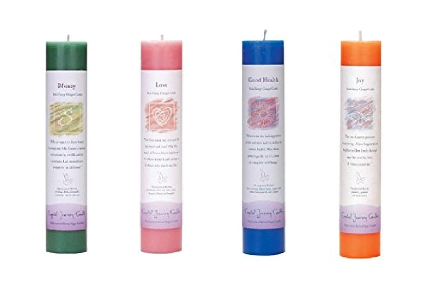階層獣座標(Money, love, Good Health, Joy) - Crystal Journey Reiki Charged Herbal Magic Pillar Candle Bundle (Money, love...