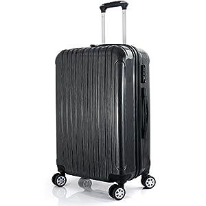 LEVIN スーツケース 機内持ち込み 超軽量【メーカー1年間保証】TSAロック搭載 ファスナー エンポス加工 鏡面加工 キャリーケース 旅行かばん キャリーバッグ トラベルバッグ トランク ダークグレー Sサイズ(外寸:54×34×22cm / 33L / 2.54kg)
