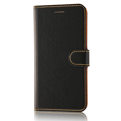 レイ・アウト iPhone7 Plus ケース 手帳型 シンプル マグネット(スリム/カード収納×3/スタンド機能) ブラッ...