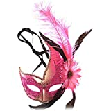Nanle ハロウィンマスクハーフフェザーマスクベニスプリンセスマスク美容レース仮面ライダーコスプレ (色 : Style B rose red)