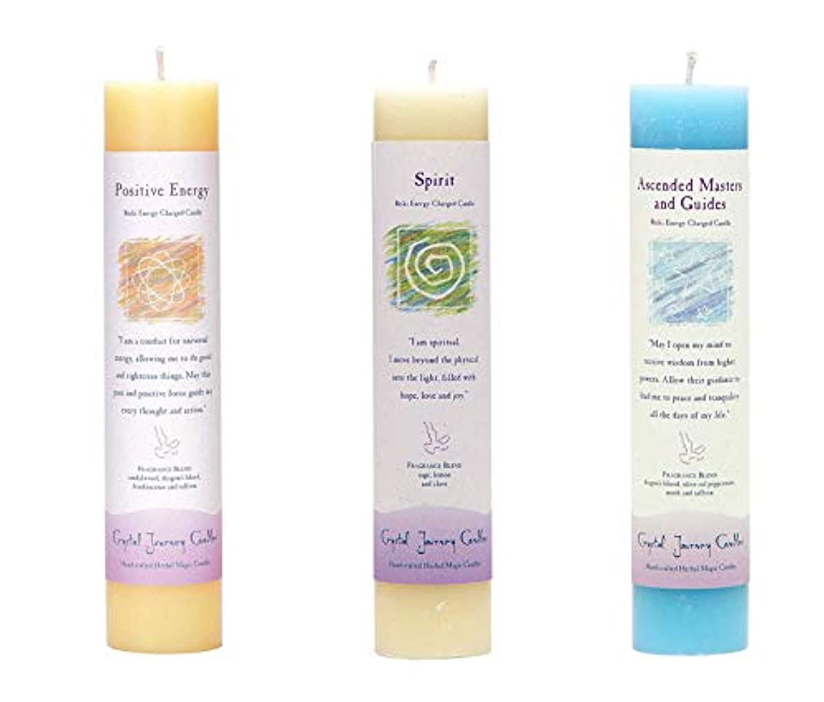 有益航海の区画(Ascended Masters and Guides, Spirit, Positive Energy) - Crystal Journey Reiki Charged Herbal Magic Pillar Candle...