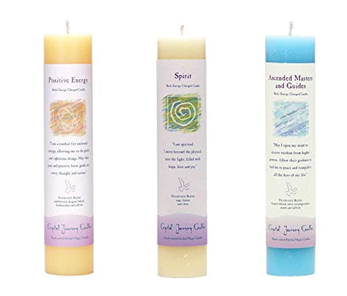 教師の日風変わりなペック(Ascended Masters and Guides, Spirit, Positive Energy) - Crystal Journey Reiki Charged Herbal Magic Pillar Candle...
