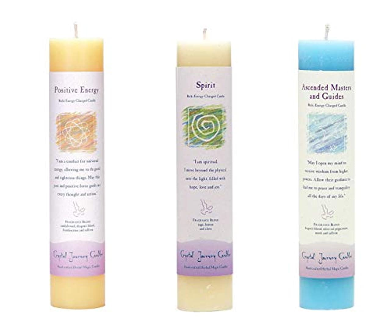 村規定蒸留(Ascended Masters and Guides, Spirit, Positive Energy) - Crystal Journey Reiki Charged Herbal Magic Pillar Candle...