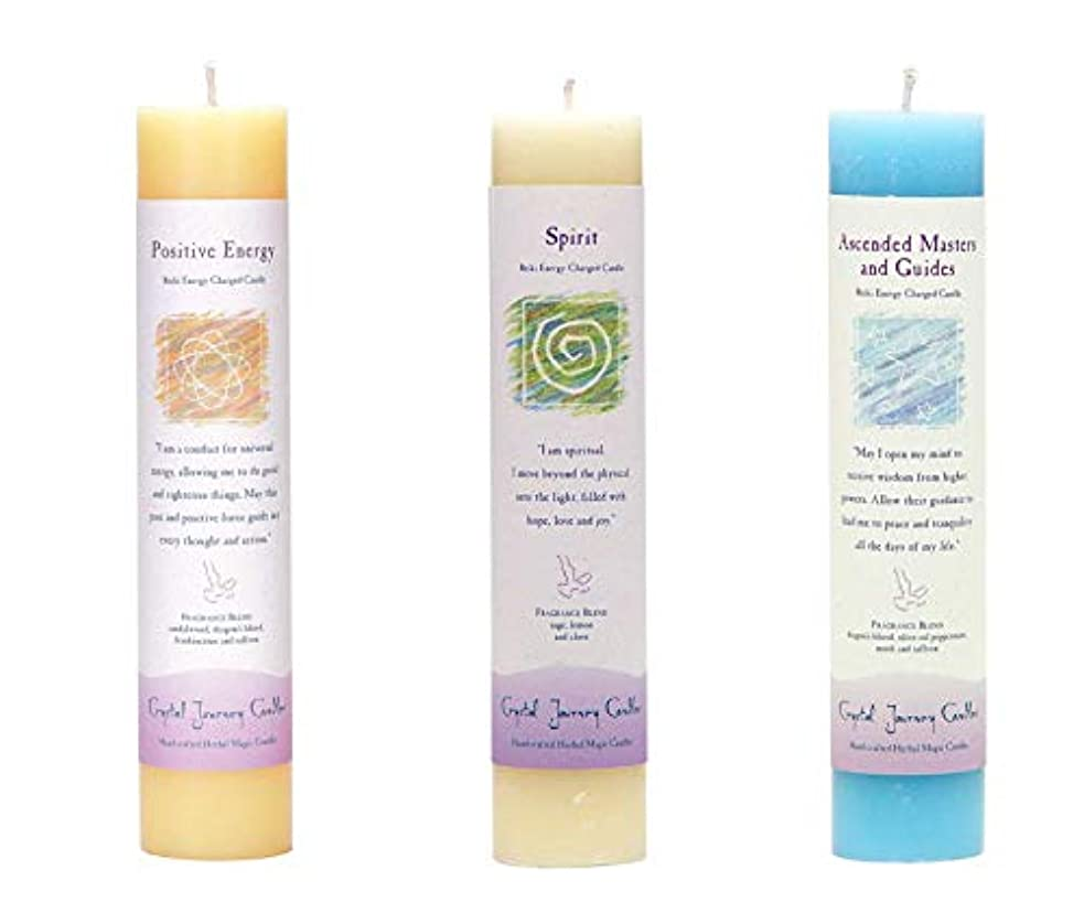 五法的確執(Ascended Masters and Guides, Spirit, Positive Energy) - Crystal Journey Reiki Charged Herbal Magic Pillar Candle...