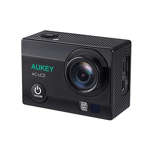 AUKEY アクションカメラ スポーツカメラ ウェアラブルカメラ 4K WIFI搭載 HD 1200万画素 170度広角レンズ 30M防水 2インチLCD 自転車/車に取り付け可能 1050mAhバッテリ×2 付属品付き AC-LC2