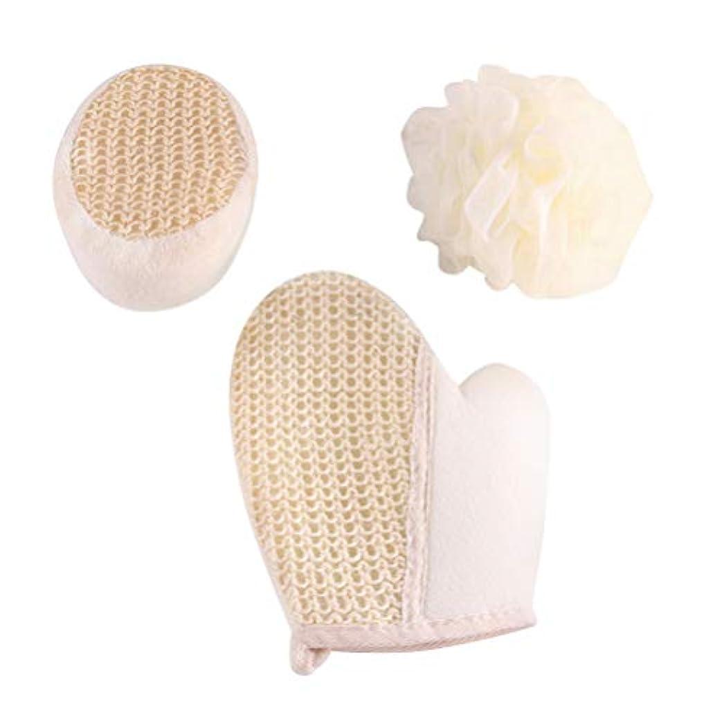 苦しむ分析するテクトニックMinkissy 3ピースバスボール風呂手袋ボディスポンジセットサイザルスクラブマッサージ手袋剥離スポンジボディスクラバー用女性女性男性