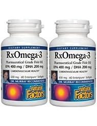 【2本セット】【海外直送品】Natural Factors - RxOmega-3 Factors EPA 400 mg/DHA 200 mg - 60ソフトジェル