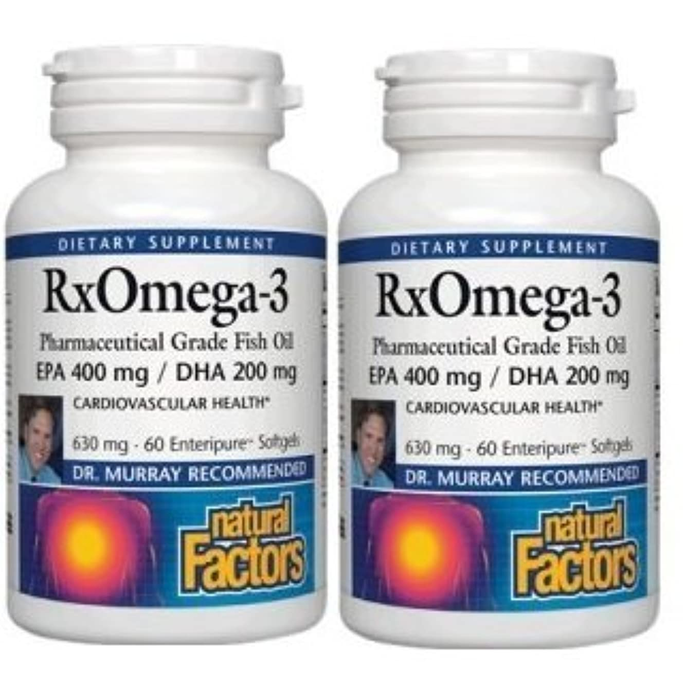 裏切り者ギャング注釈を付ける【2本セット】【海外直送品】Natural Factors - RxOmega-3 Factors EPA 400 mg/DHA 200 mg - 60ソフトジェル