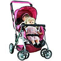 Mommy & Me TWIN Doll Pram Back to Back with Swiveling Wheels & Free Carriage Bag - 9668 [並行輸入品]