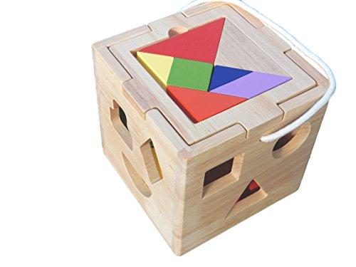 [해외]HDT 나무 다채로운 퍼즐 상자 탱그램 교육 대상 연령 3 세 이상 쌓은/HDT wooden colorful puzzle box tangram education target age 3 years old or more