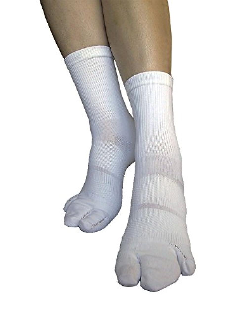 火炎ディレイ無能外反母趾対策 足首ほっそーり3本指テーピング靴下 M(22-24cm)?ホワイト