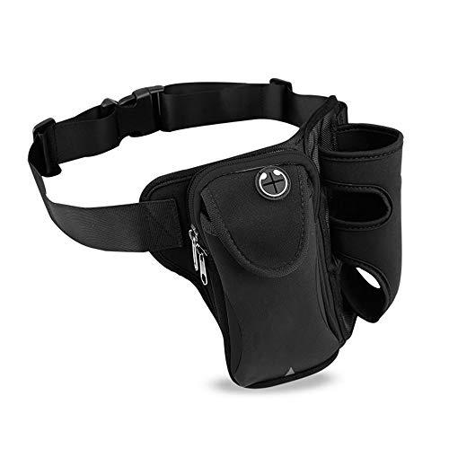ウエストバッグ ショルダー付き 水筒入れ 多機能 軽量 大容量 メンズ レディース ウエストバッグ アウトドア 水筒ポーチ付き 旅行 登山 散歩などに適用 メンズ レディース (黒)