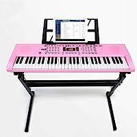 子供のキーボード一般的な初心者は、マイク+ピアノスタンド+イヤホン+ピアノカバーで61鍵を演奏中に歌う ( Color : Pink )