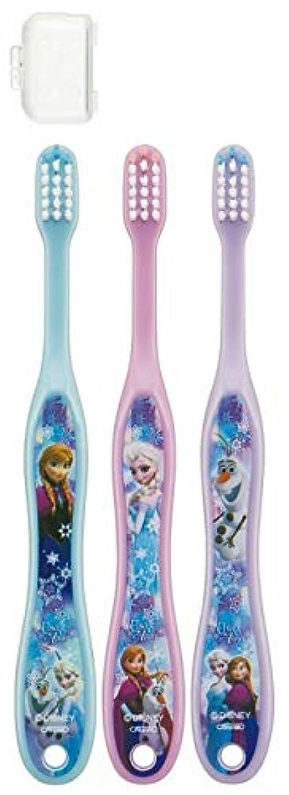 衰える努力するスチュワーデス子供歯ブラシ 園児用 キャップ付き 3本セットディズニープリンセス アナと雪の女王 キティ サンリオ fo-shb01(アナと雪の女王)