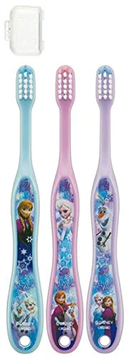 有毒速報オーストラリア子供歯ブラシ 園児用 キャップ付き 3本セットディズニープリンセス アナと雪の女王 キティ サンリオ fo-shb01(アナと雪の女王)