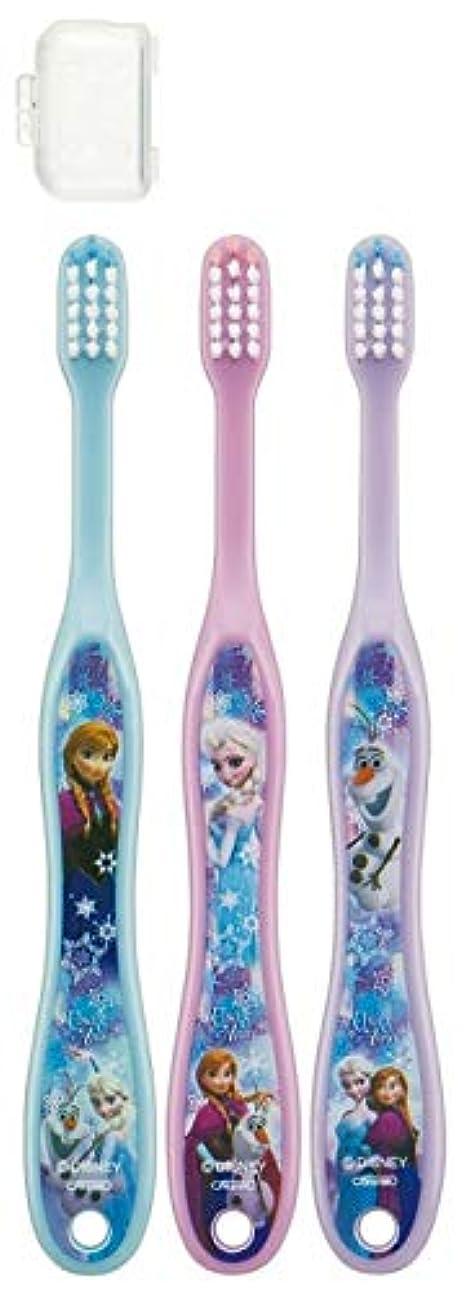 解任不振代表する子供歯ブラシ 園児用 キャップ付き 3本セットディズニープリンセス アナと雪の女王 キティ サンリオ fo-shb01(アナと雪の女王)
