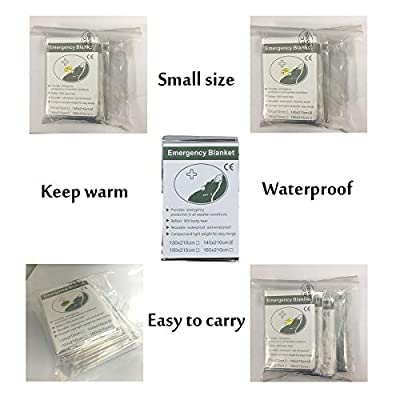 Survival Gear, Emergency Survival First Aid Outdoor Mylar Thermal Blanket (5 Pack)