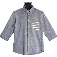 大きいサイズ 七分袖シャツ カジュアルシャツ メンズ ボタンダウン コットンパナマ ポケット切り替え 無地 清涼 白 紺 春 夏 秋