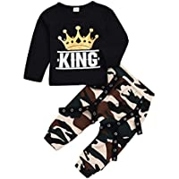 ViWorld Toddler Kid Baby Boy Clothes Little Big Brother Print Top +Cool Camo Pants Outfit Set