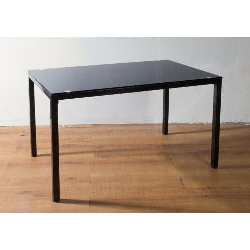 8mm厚強化ガラス オフィスミーティングテーブル ワークデスク 120x75cm ブラック(黒)
