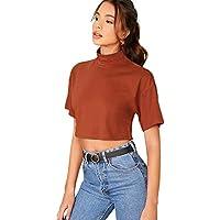 SweatyRocks Women's Short Sleeve Crop Top Zipper Slim Fit T Shirt Tops