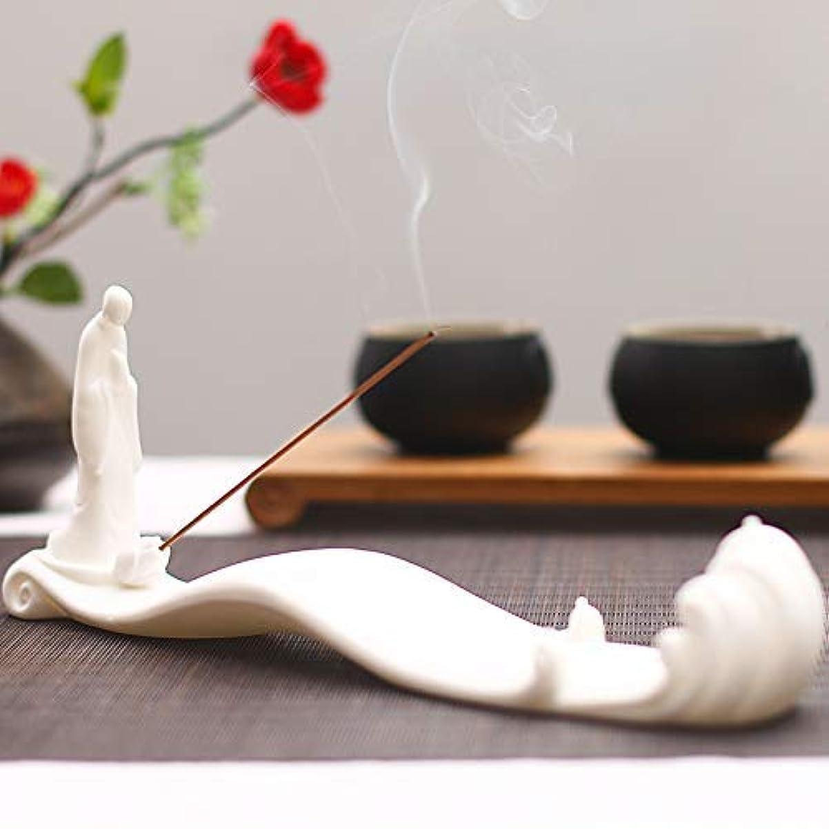 光景害アサーPHILOGOD 香炉 陶器線香香立て モンク潮を見てモデリング仏壇 お香 ホルダー