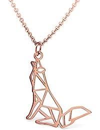 hanfly 18 Kローズゴールドメッキウルフネックレス幾何Origamiジュエリー16.5