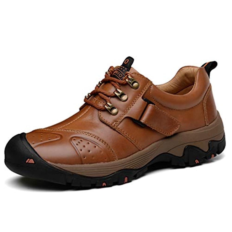 男ケープマッシュ[Dong] アウトドアシューズ メンズ 登山靴 スリッポンカジュアルシューズ 赤褐色 クッションインソール 27.0cm 靴 オシャレ抗菌 脱臭 ブーツブラウンハイキングシューズ 滑りにくいトレッキングシューズ 本革 通気性