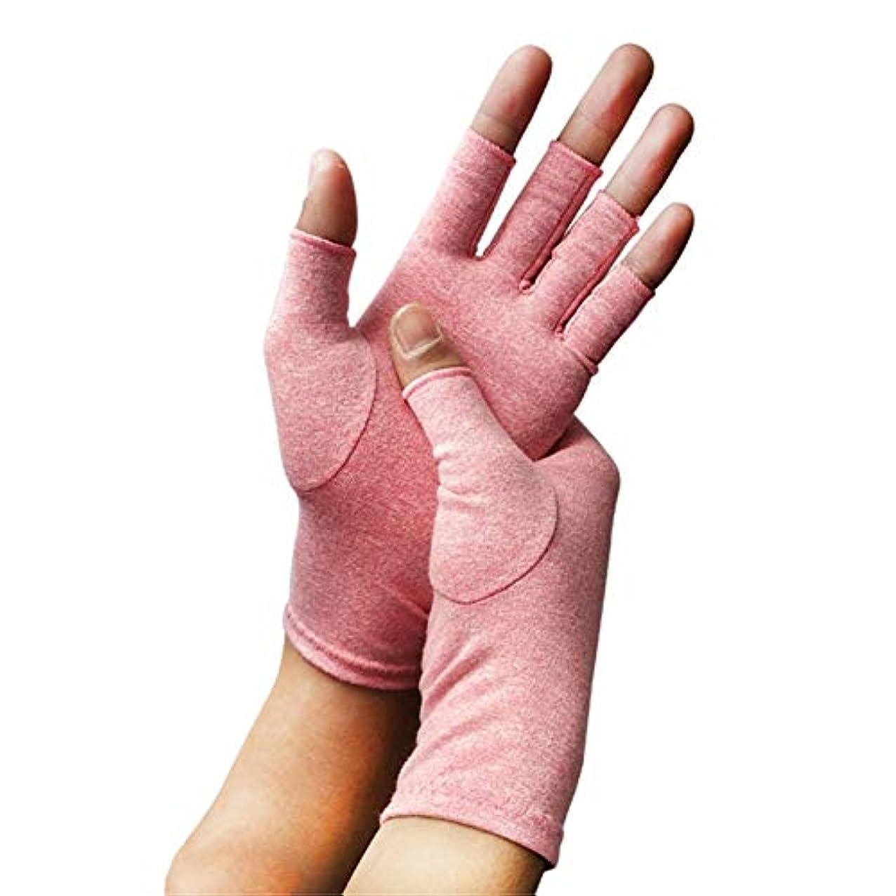 止まる反発宮殿関節炎グローブ関節炎の圧縮手袋、銅の圧縮ハーフフィンガー関節炎の手袋は、関節炎の症状を和らげ、ストレスを減らすことができますユニセックスミディアム1ペア