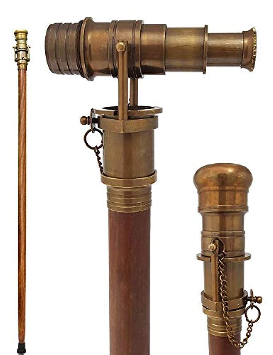 ヘッドレス駐地王族Antique Telescope Finish Walking Stick Wood Cane Replica Steampunk by Walking Stick Style