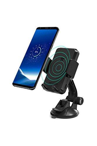 TaoTronics 車載ホルダー ワイヤレス充電 Qi/急速/最大10W/2コイル 吸盤式/360度回転 iPhone X/Xs/Xs Max/XR、Galaxy S9/S8/Nexus 等のQi機種対応 TT-SH004