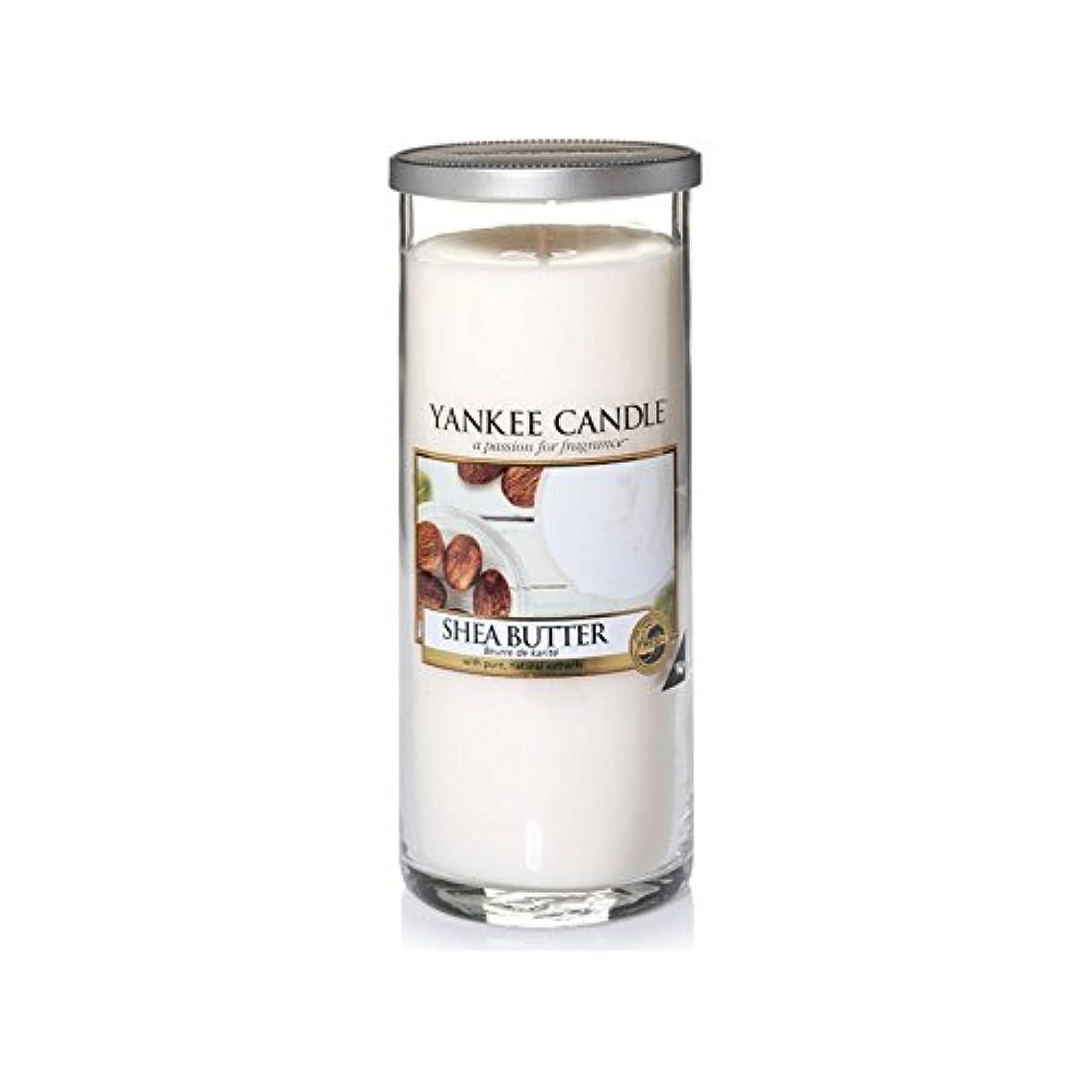 なめらかな溝グラスYankee Candles Large Pillar Candle - Shea Butter (Pack of 2) - ヤンキーキャンドル大きな柱キャンドル - シアバター (x2) [並行輸入品]
