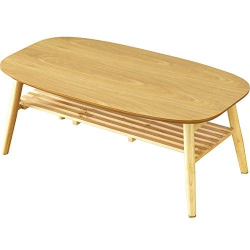 DORIS テーブル 折りたたみ 棚付き ちゃぶ台 90×50cm 軽量 収納 ナチュラル ホアカ