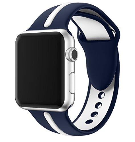 EloBeth Apple Watch /Apple Watch 2バンド シリカゲルバンド アップルウォッチ Nike+ / New Apple iWatch Series 2 / Apple Watch Series 1 に対応 バンド ラグ付きfor Apple Watch (42mm, 白&濃紺)