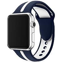 Kartice Compatible Apple Watch Nike 3/2/1 42mm /Apple Watch 4 バンド 44mm ソフトシリコンバンド スポーツバンド シリコンアダプター付き (44mm/42mm, ディープブルー+白)
