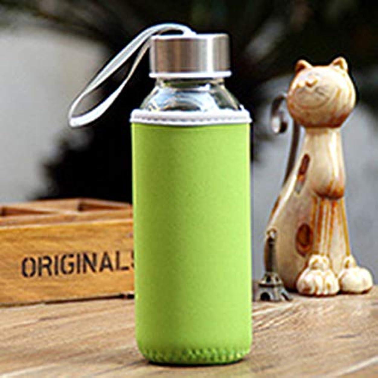 彫刻マカダム最適300mlガラス製飲用ボトルホウケイ酸塩ガラス製水ボトル、布製カバーポーチポータブルトラベルドリンクボトル-グリーン