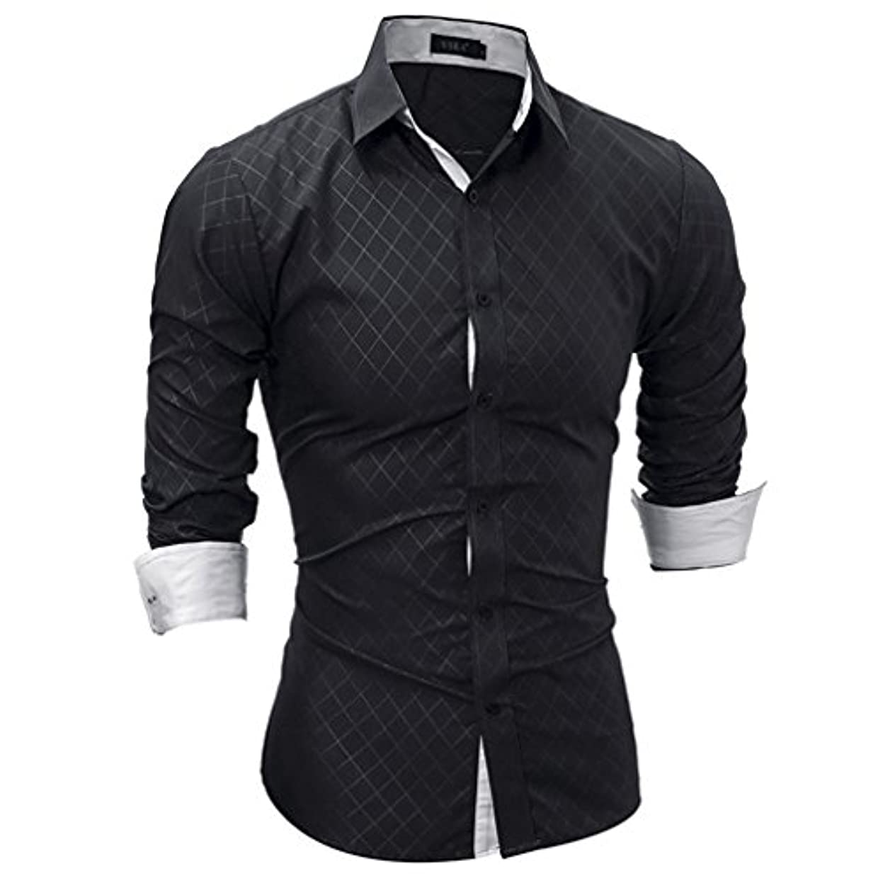 一晩モンスター理想的Honghu メンズ シャツ 長袖 裏地付き チェック柄 カジュアル  ブラック L 1PC