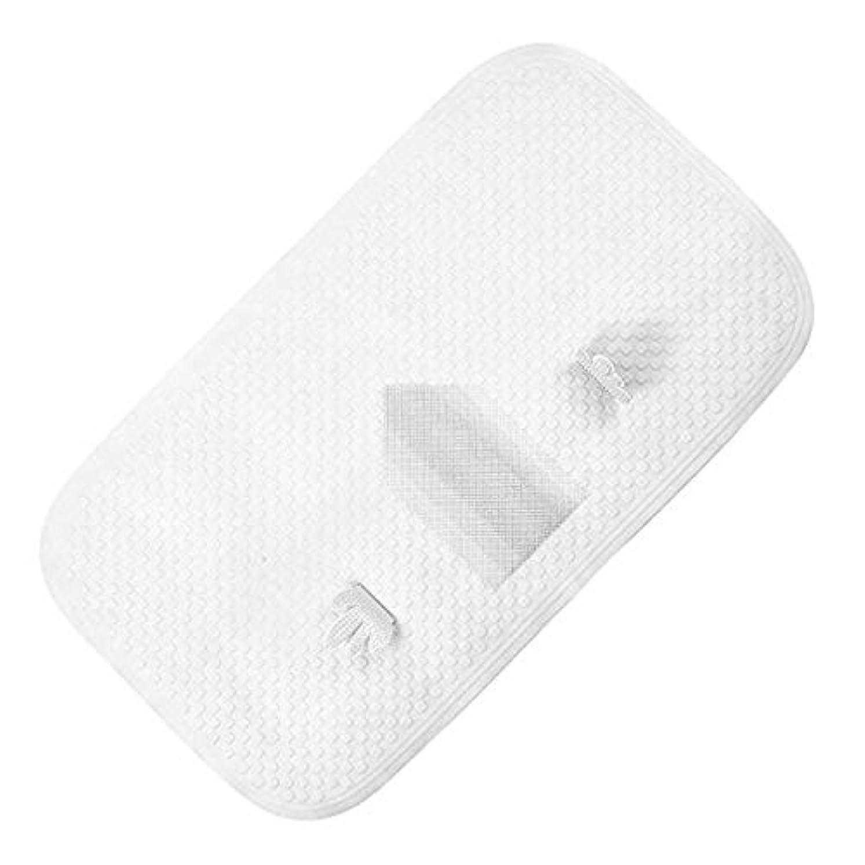 抜け目のないガラス優雅なJhua 滑り止めバスタブマット、TPEフットマッサージバスマット、浴室用抗菌防カビシャワーマット(白)