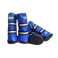 WYXBH ペットの犬の靴防水Snowproofペット靴、中型犬、大型犬の一般的な雨のブーツ、ロング靴、ブルー、ブラック、レッド(XS - XL) (色 : Blue, サイズ : M)
