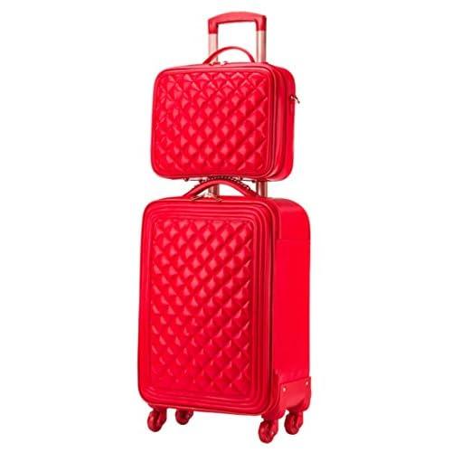 Femoooboro レディーズ ハイグレードPUレザー素材 格子 レッド スーツケーストップ 旅行ラッゲージ M セット